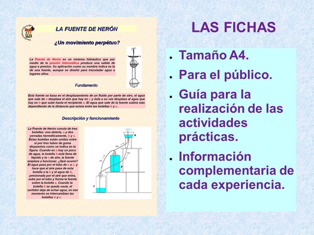 LAS FICHAS Tamaño A4. Para el público. Guía para la realización de las actividades prácticas. Información complementaria de cada experiencia.