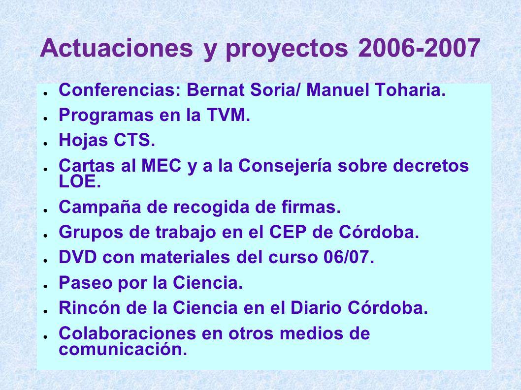 Actuaciones y proyectos 2006-2007 Conferencias: Bernat Soria/ Manuel Toharia. Programas en la TVM. Hojas CTS. Cartas al MEC y a la Consejería sobre de