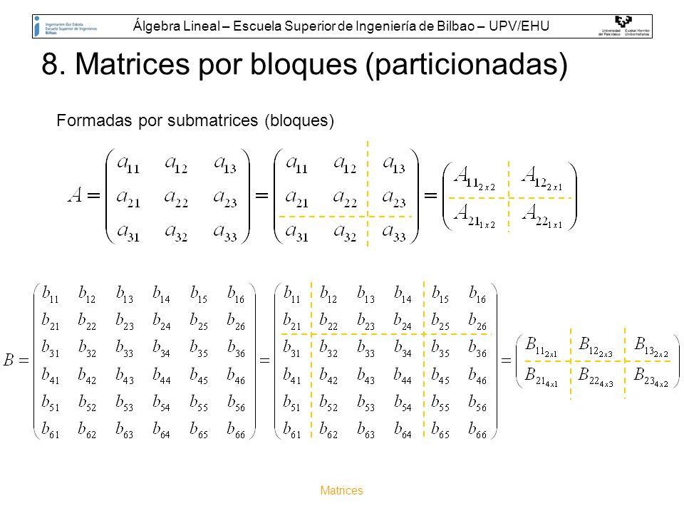 Matrices 8. Matrices por bloques (particionadas) Formadas por submatrices (bloques) Álgebra Lineal – Escuela Superior de Ingeniería de Bilbao – UPV/EH