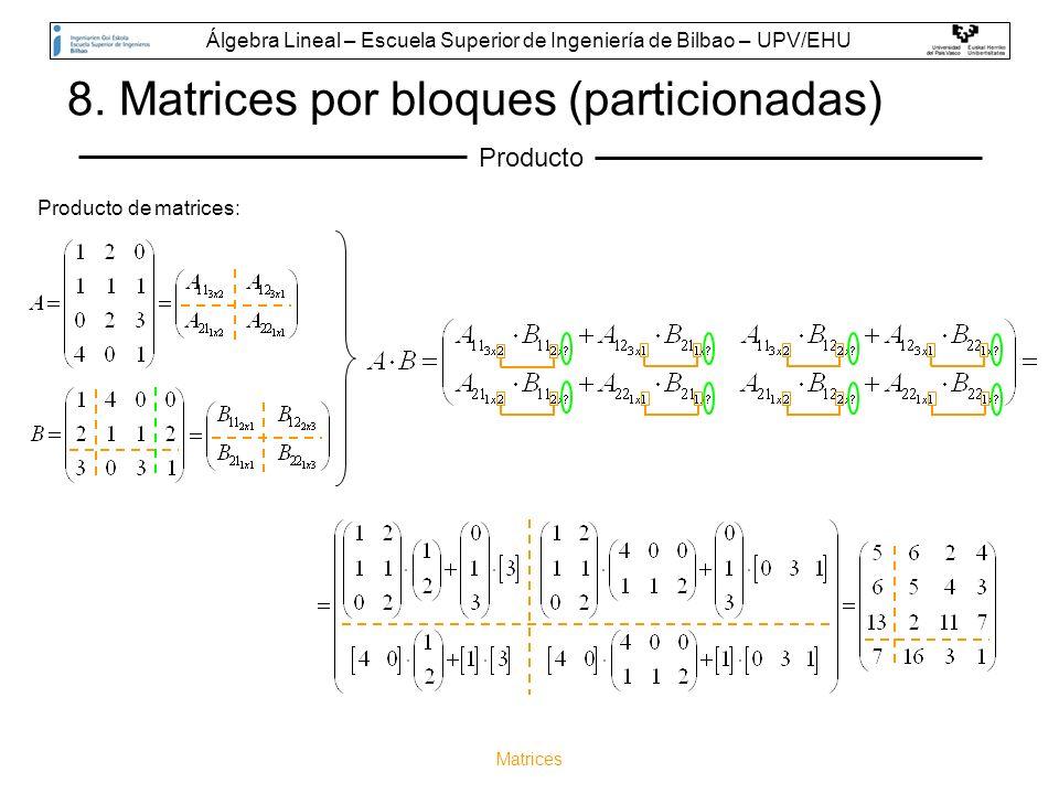 Matrices 8. Matrices por bloques (particionadas) Producto Producto de matrices: Álgebra Lineal – Escuela Superior de Ingeniería de Bilbao – UPV/EHU