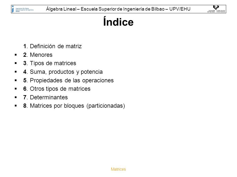 Matrices Índice 1. Definición de matriz 2. Menores 3. Tipos de matrices 4. Suma, productos y potencia 5. Propiedades de las operaciones 6. Otros tipos