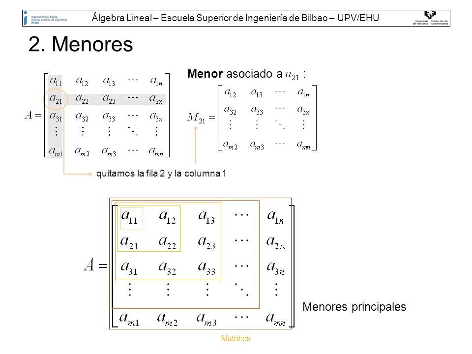Matrices 2. Menores quitamos la fila 2 y la columna 1 Menor asociado a : Menores principales Álgebra Lineal – Escuela Superior de Ingeniería de Bilbao