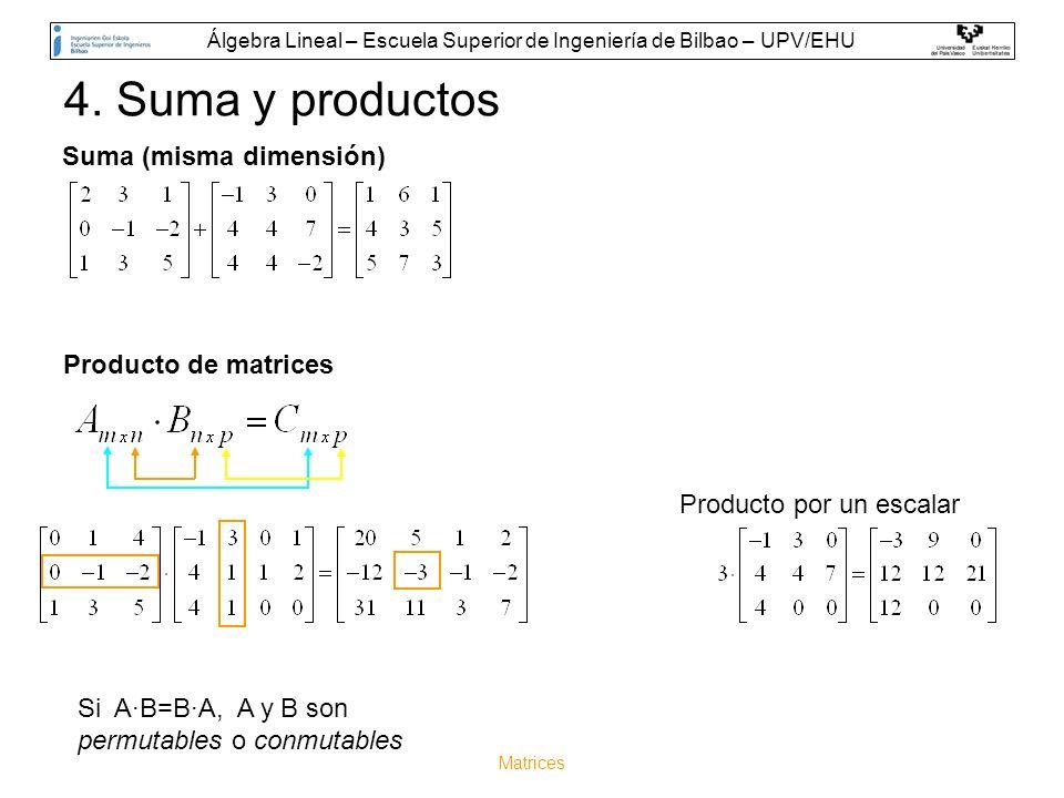 Matrices 4. Suma y productos Si A·B=B·A, A y B son permutables o conmutables Suma (misma dimensión) Producto por un escalar Producto de matrices Álgeb