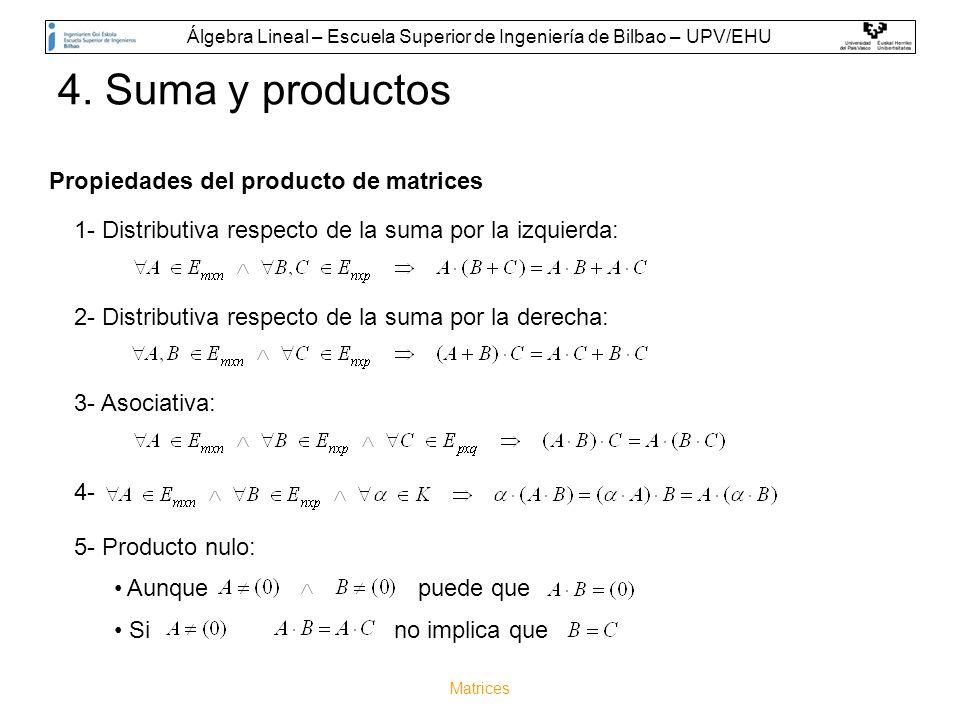 Matrices Propiedades del producto de matrices 1- Distributiva respecto de la suma por la izquierda: 2- Distributiva respecto de la suma por la derecha