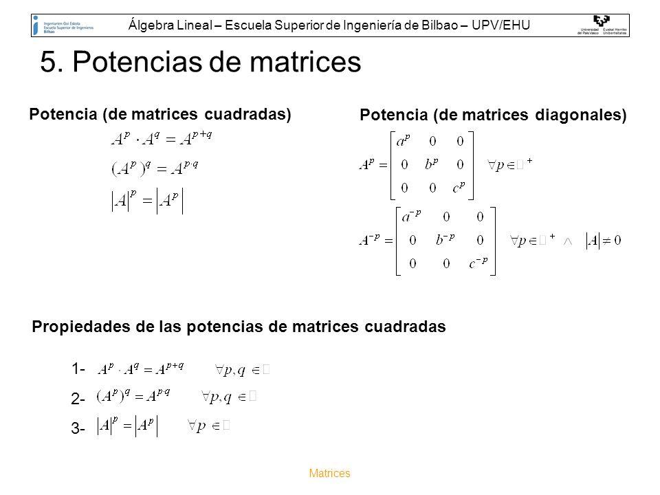 Matrices 5. Potencias de matrices Propiedades de las potencias de matrices cuadradas 1- 2- 3- Potencia (de matrices cuadradas) Potencia (de matrices d