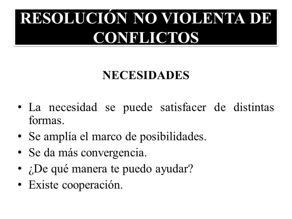 RESOLUCIÓN NO VIOLENTA DE CONFLICTOS NECESIDADES La necesidad se puede satisfacer de distintas formas. Se amplía el marco de posibilidades. Se da más