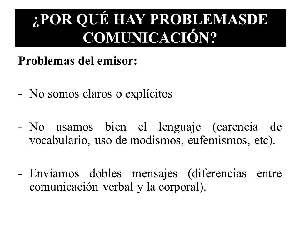 ¿POR QUÉ HAY PROBLEMASDE COMUNICACIÓN? Problemas del emisor: -No somos claros o explícitos -No usamos bien el lenguaje (carencia de vocabulario, uso d