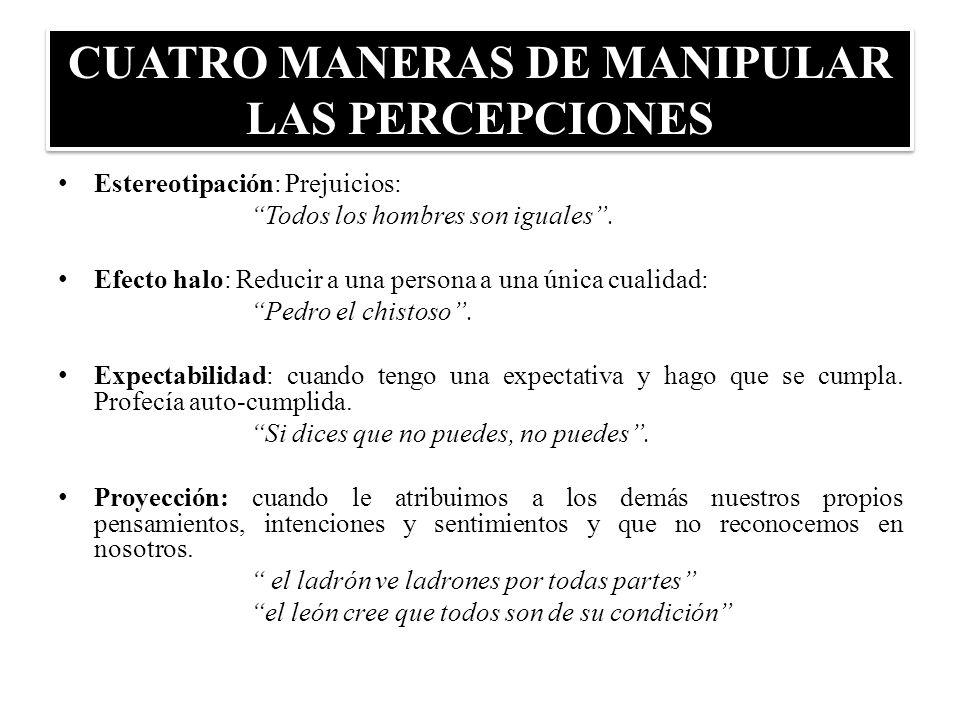 CUATRO MANERAS DE MANIPULAR LAS PERCEPCIONES Estereotipación: Prejuicios: Todos los hombres son iguales. Efecto halo: Reducir a una persona a una únic