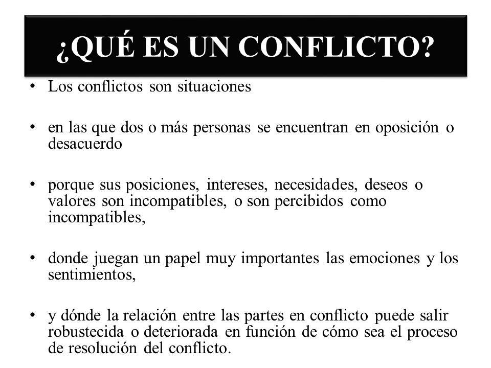 ¿QUÉ ES UN CONFLICTO? Los conflictos son situaciones en las que dos o más personas se encuentran en oposición o desacuerdo porque sus posiciones, inte
