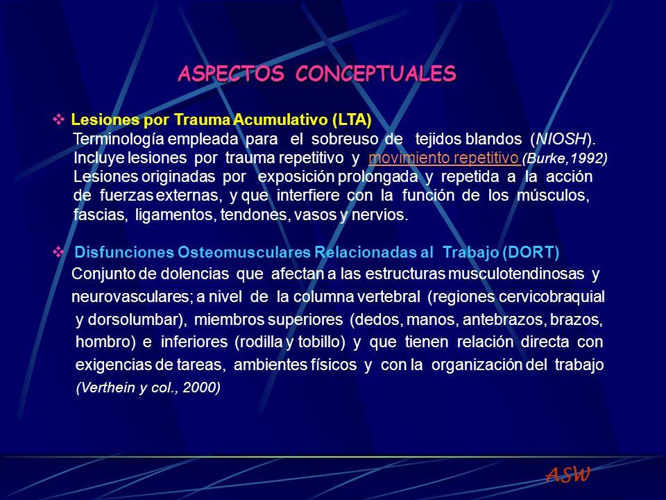 TERMINOLOGIA Desórdenes por trauma acumulativo (LTA) (CTD = cumulative trauma disorders) Lesiones por esfuerzo repetitivo (LER) (RSI = repetitive strain injuries) Síndromes por sobresuso ocupacional (OOS = occupational overuse syndromes) Desórdenes de extremidades superiores relacionados al trabajo (WRULD = work-related upper limb disorders) Desórdenes musculoesqueléticos de extremidades superiores (UEMSD = Upper Extremity Musculoskeletal Disorders) Disfunciones osteomusculares relacionadas con el trabajo (DORT) (DORT = Doenças Osteomusculares Relacionadas ao Trabalho) Desórdenes musculoesqueléticos relacionados al trabajo (WRMSD = Workrelated musculoskeletal disorders) ASW