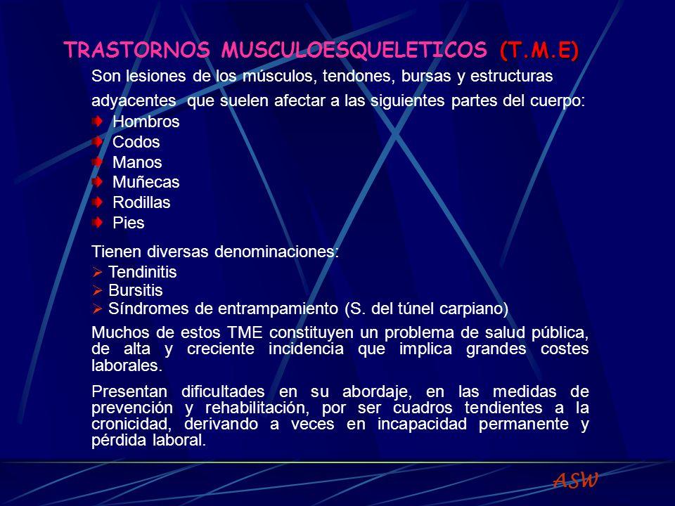 (T.M.E) TRASTORNOS MUSCULOESQUELETICOS (T.M.E) Son lesiones de los músculos, tendones, bursas y estructuras adyacentes que suelen afectar a las siguientes partes del cuerpo: Hombros Codos Manos Muñecas Rodillas Pies Tienen diversas denominaciones: Tendinitis Bursitis Síndromes de entrampamiento (S.
