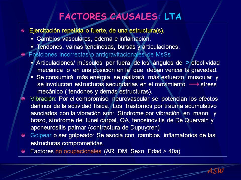 FACTORES CAUSALES: LTA Ejercitación repetida o fuerte, de una estructura(s).