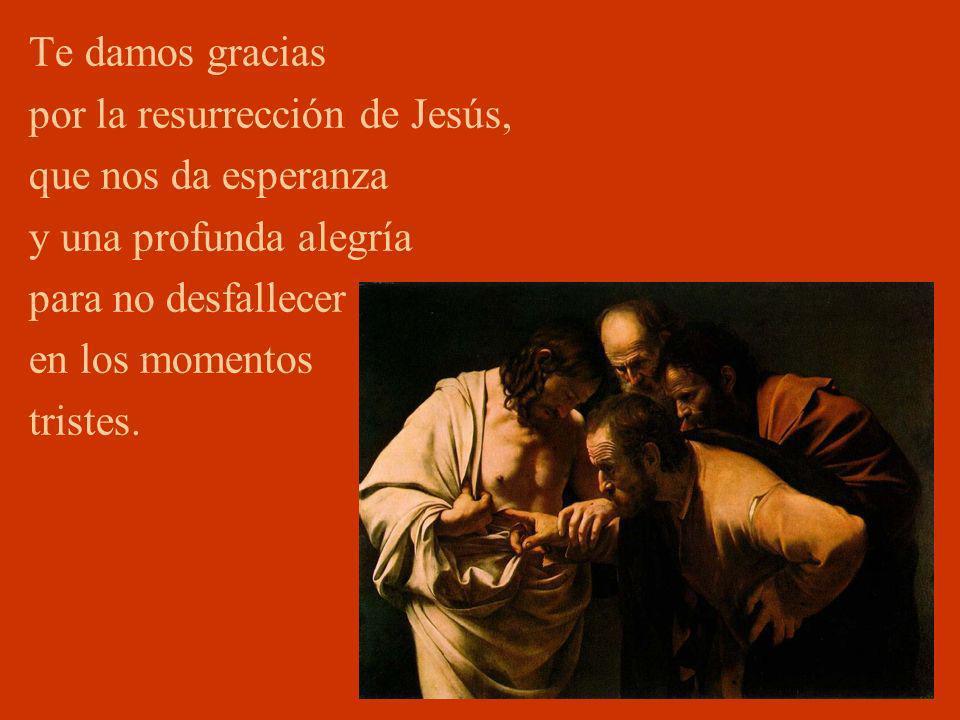 Te damos gracias por la resurrección de Jesús, que nos da esperanza y una profunda alegría para no desfallecer en los momentos tristes.