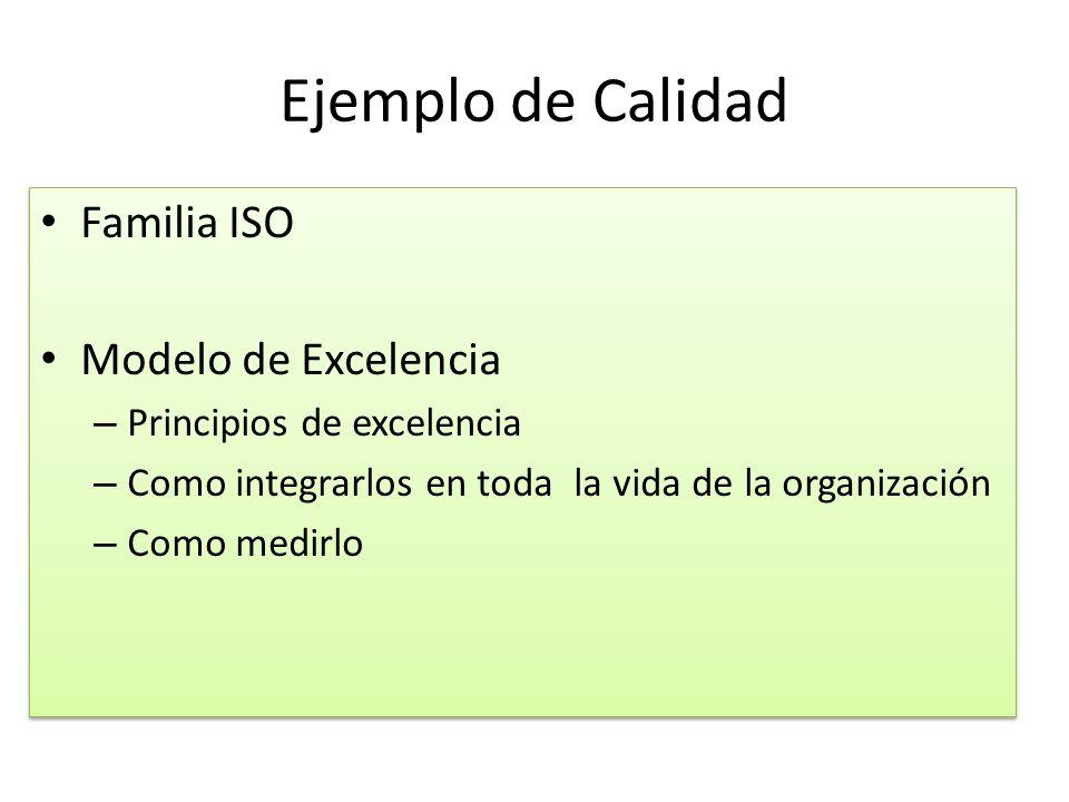 Ejemplo de Calidad Familia ISO Modelo de Excelencia – Principios de excelencia – Como integrarlos en toda la vida de la organización – Como medirlo Fa