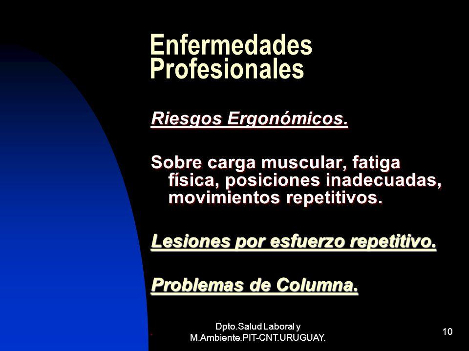Dpto.Salud Laboral y M.Ambiente.PIT-CNT.URUGUAY. 10 Enfermedades Profesionales Riesgos Ergonómicos. Sobre carga muscular, fatiga física, posiciones in