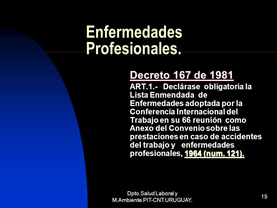 Dpto.Salud Laboral y M.Ambiente.PIT-CNT.URUGUAY. 15 Enfermedades Profesionales. Decreto 167 de 1981 1964 (num. 121). ART.1.- Declárase obligatoria la