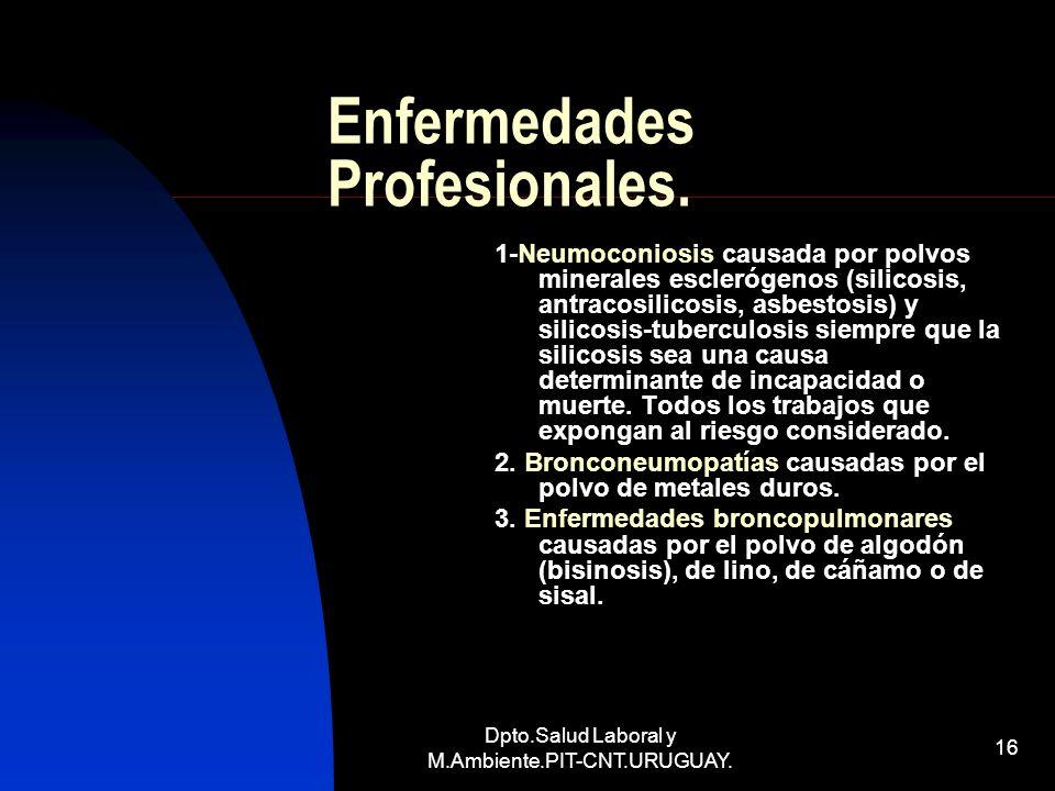 Dpto.Salud Laboral y M.Ambiente.PIT-CNT.URUGUAY. 16 Enfermedades Profesionales. 1-Neumoconiosis causada por polvos minerales esclerógenos (silicosis,