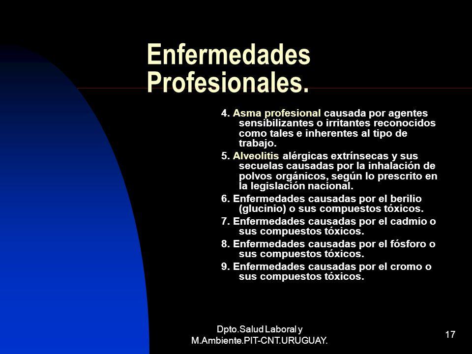 Dpto.Salud Laboral y M.Ambiente.PIT-CNT.URUGUAY. 17 Enfermedades Profesionales. 4. Asma profesional causada por agentes sensibilizantes o irritantes r