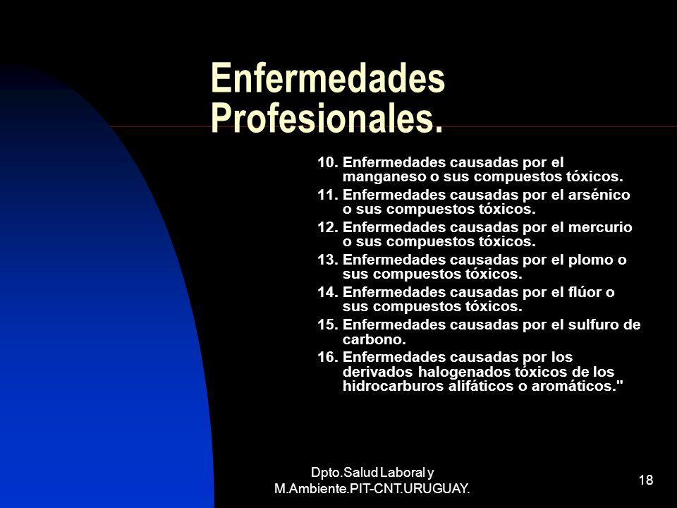 Dpto.Salud Laboral y M.Ambiente.PIT-CNT.URUGUAY. 18 Enfermedades Profesionales. 10. Enfermedades causadas por el manganeso o sus compuestos tóxicos. 1