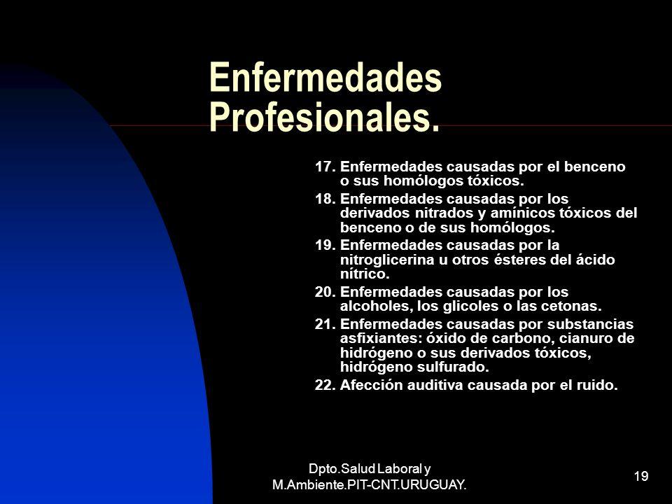 Dpto.Salud Laboral y M.Ambiente.PIT-CNT.URUGUAY. 19 Enfermedades Profesionales. 17. Enfermedades causadas por el benceno o sus homólogos tóxicos. 18.