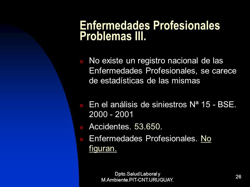 Dpto.Salud Laboral y M.Ambiente.PIT-CNT.URUGUAY. 26 Enfermedades Profesionales Problemas III. No existe un registro nacional de las Enfermedades Profe