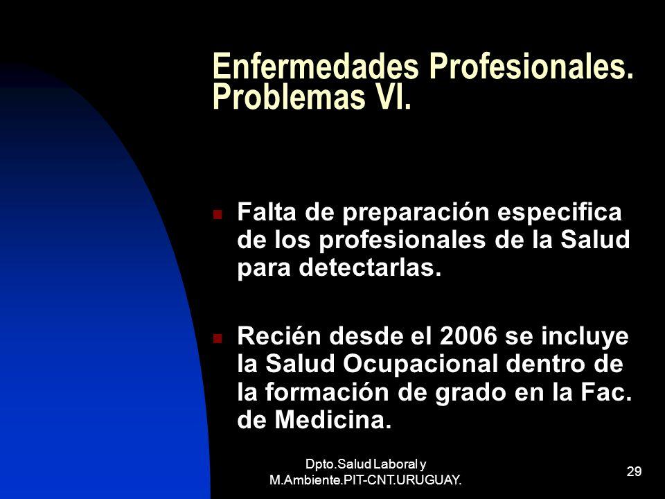 Dpto.Salud Laboral y M.Ambiente.PIT-CNT.URUGUAY. 29 Enfermedades Profesionales. Problemas VI. Falta de preparación especifica de los profesionales de
