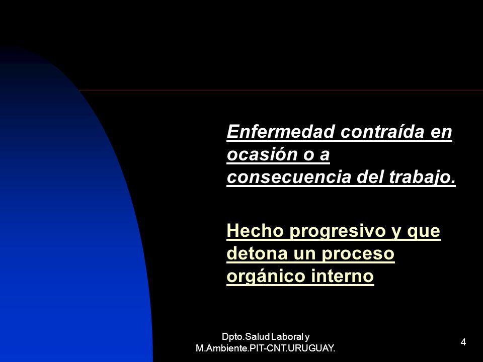Dpto.Salud Laboral y M.Ambiente.PIT-CNT.URUGUAY. 4 Enfermedad contraída en ocasión o a consecuencia del trabajo. Hecho progresivo y que detona un proc