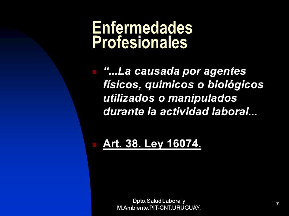 Dpto.Salud Laboral y M.Ambiente.PIT-CNT.URUGUAY. 7 Enfermedades Profesionales...La causada por agentes físicos, quimicos o biológicos utilizados o man