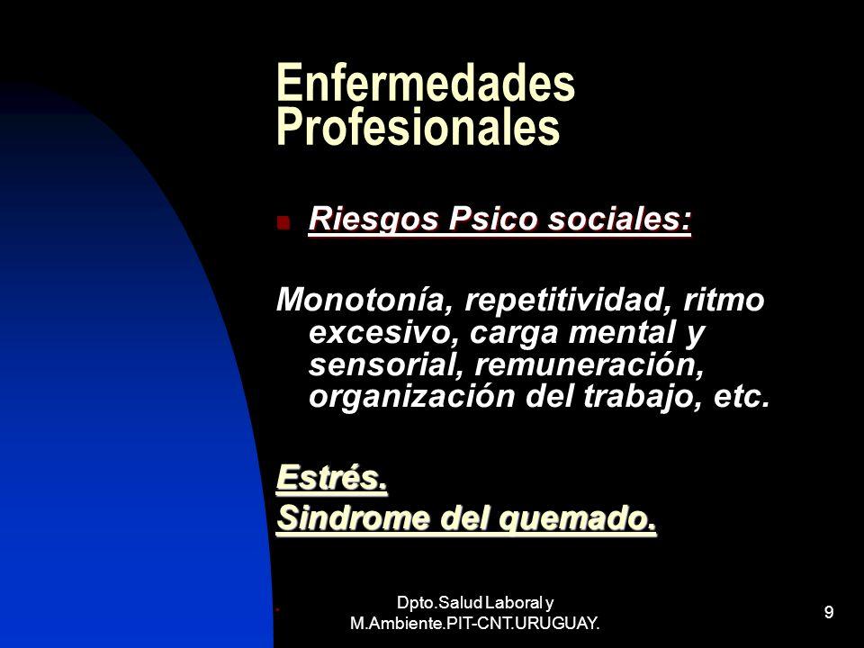 Dpto.Salud Laboral y M.Ambiente.PIT-CNT.URUGUAY. 9 Enfermedades Profesionales Riesgos Psico sociales: Riesgos Psico sociales: Monotonía, repetitividad