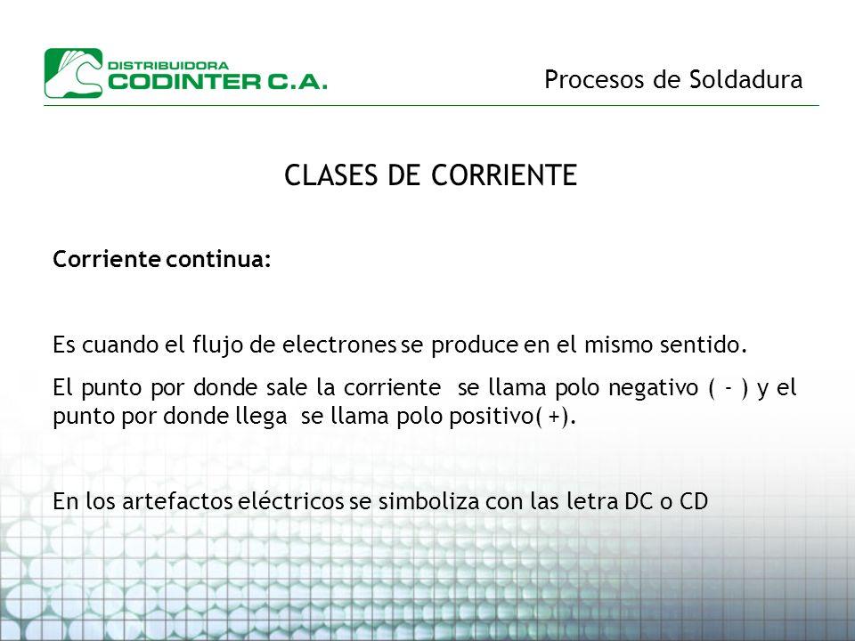 Procesos de Soldadura CLASES DE CORRIENTE Corriente continua: Es cuando el flujo de electrones se produce en el mismo sentido. El punto por donde sale
