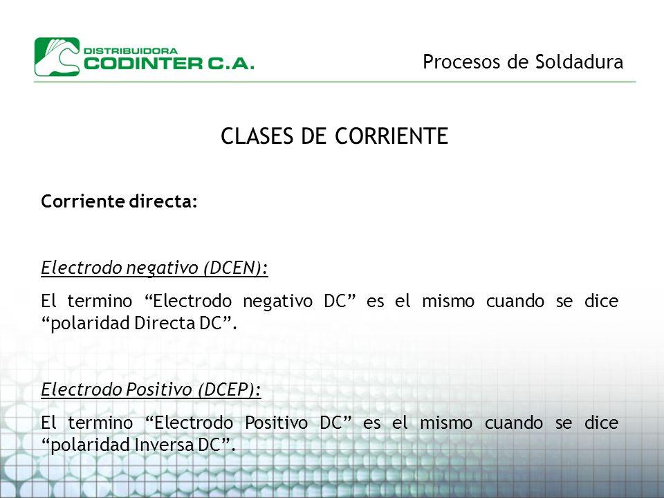 Procesos de Soldadura CLASES DE CORRIENTE Corriente directa: Electrodo negativo (DCEN): El termino Electrodo negativo DC es el mismo cuando se dice po