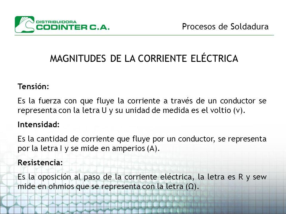 Procesos de Soldadura MAGNITUDES DE LA CORRIENTE ELÉCTRICA Tensión: Es la fuerza con que fluye la corriente a través de un conductor se representa con