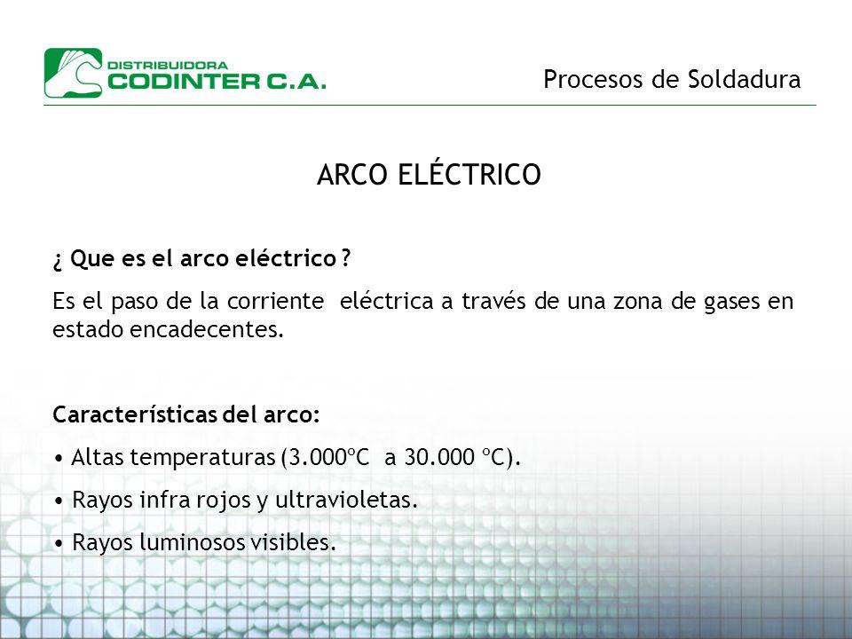 Procesos de Soldadura ARCO ELÉCTRICO ¿ Que es el arco eléctrico ? Es el paso de la corriente eléctrica a través de una zona de gases en estado encadec