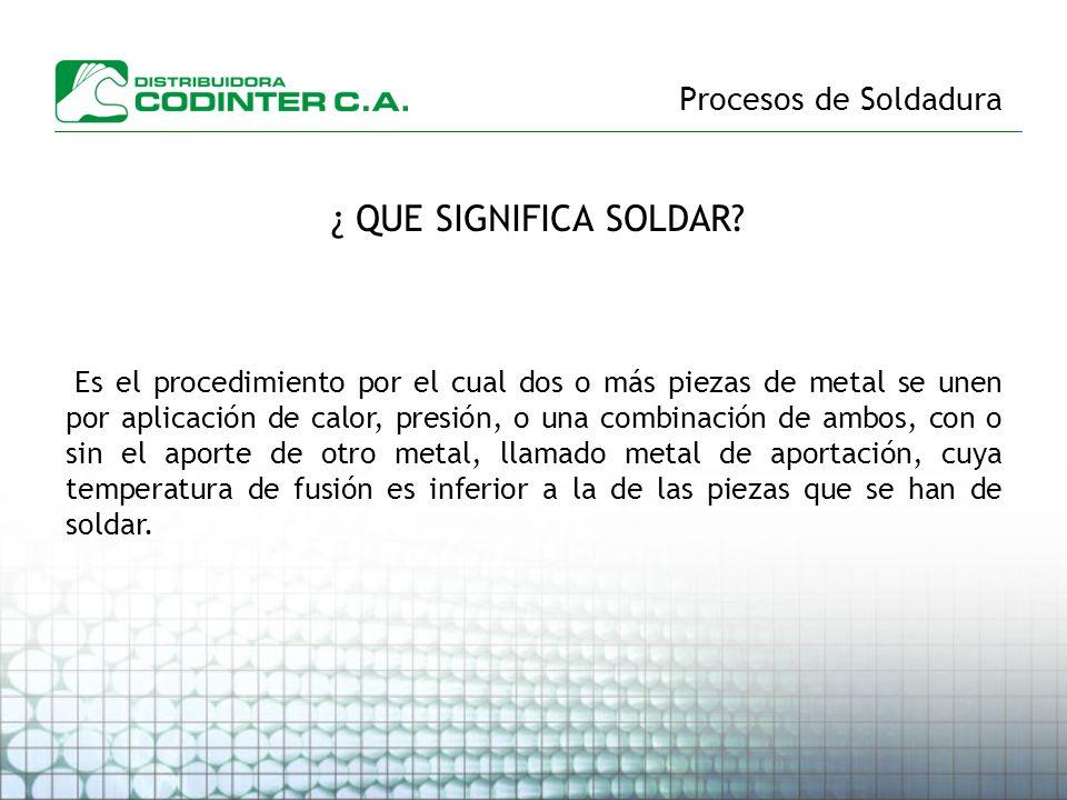 Procesos de Soldadura ¿ QUE SIGNIFICA SOLDAR? Es el procedimiento por el cual dos o más piezas de metal se unen por aplicación de calor, presión, o un