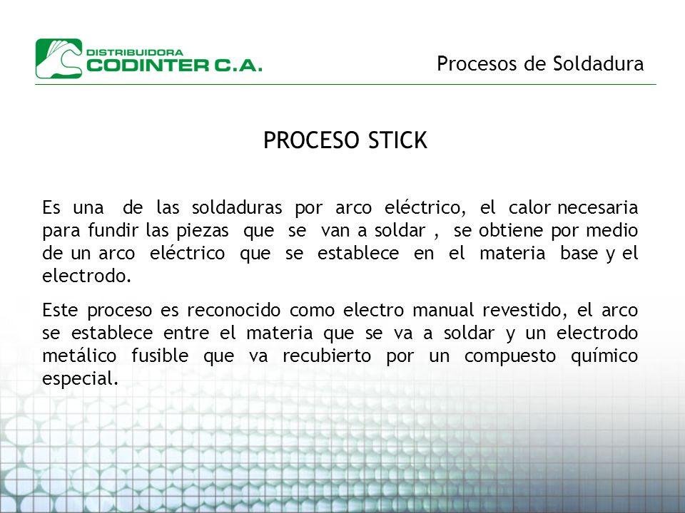 Procesos de Soldadura PROCESO STICK Es una de las soldaduras por arco eléctrico, el calor necesaria para fundir las piezas que se van a soldar, se obt
