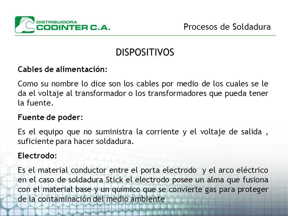 Procesos de Soldadura DISPOSITIVOS Cables de alimentación: Como su nombre lo dice son los cables por medio de los cuales se le da el voltaje al transf