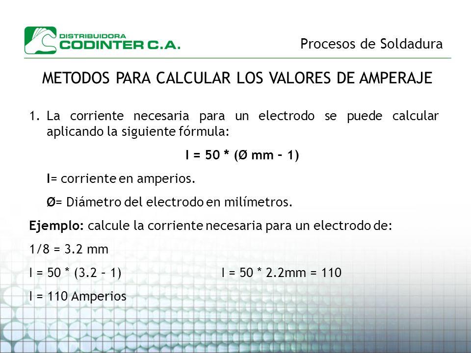 Procesos de Soldadura METODOS PARA CALCULAR LOS VALORES DE AMPERAJE 1.La corriente necesaria para un electrodo se puede calcular aplicando la siguient