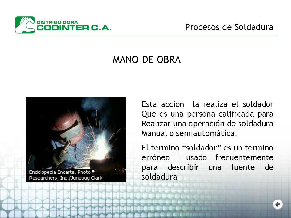 Procesos de Soldadura MANO DE OBRA Esta acción la realiza el soldador Que es una persona calificada para Realizar una operación de soldadura Manual o