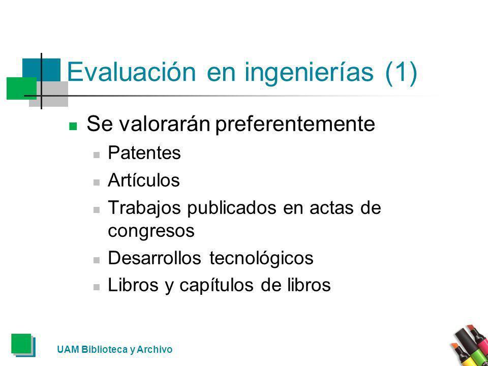 Evaluación en ingenierías (1) Se valorarán preferentemente Patentes Artículos Trabajos publicados en actas de congresos Desarrollos tecnológicos Libro