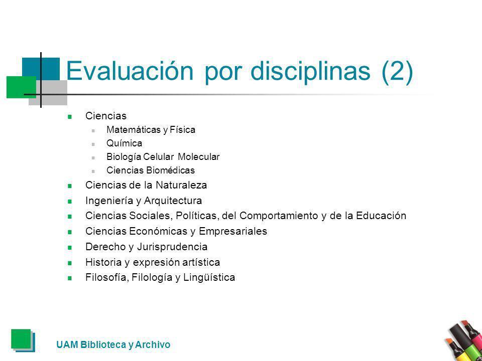 Evaluación por disciplinas (3) El Ministerio de Ciencia e Innovación y la FECYT (Fundación Española para la Ciencia y la Tecnología) gestionan y financian la licencia nacional de acceso al ISI Web of Knowledge, la principal herramienta de evaluación de la actividad científica.