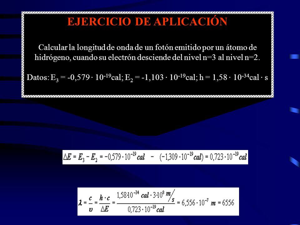 EJERCICIO DE APLICACIÓN Calcular la longitud de onda de un fotón emitido por un átomo de hidrógeno, cuando su electrón desciende del nivel n=3 al nive