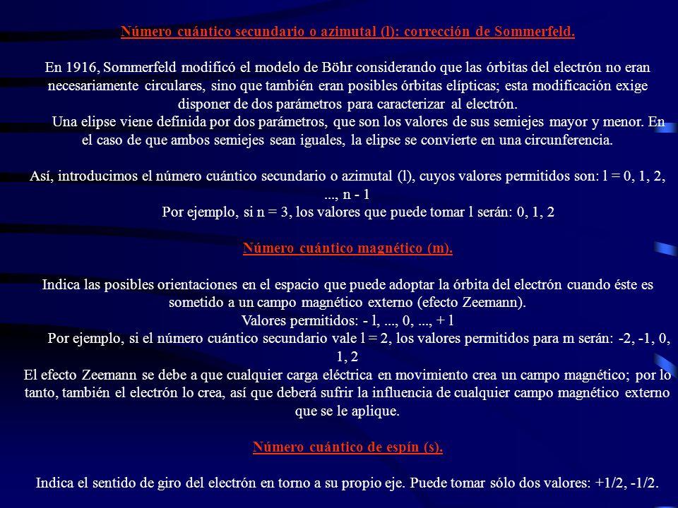 Número cuántico secundario o azimutal (l): corrección de Sommerfeld. En 1916, Sommerfeld modificó el modelo de Böhr considerando que las órbitas del e