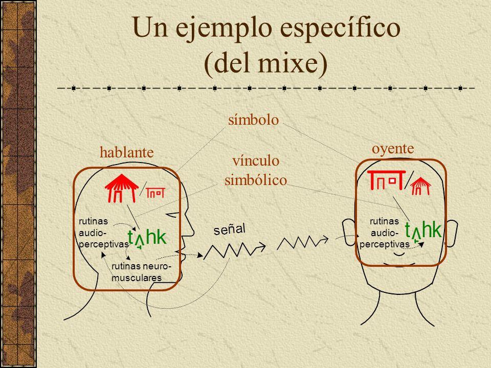 Un ejemplo específico (del mixe) hablante oyente vínculo simbólico símbolo rutinas audio- perceptivas rutinas neuro- musculares rutinas audio- percept