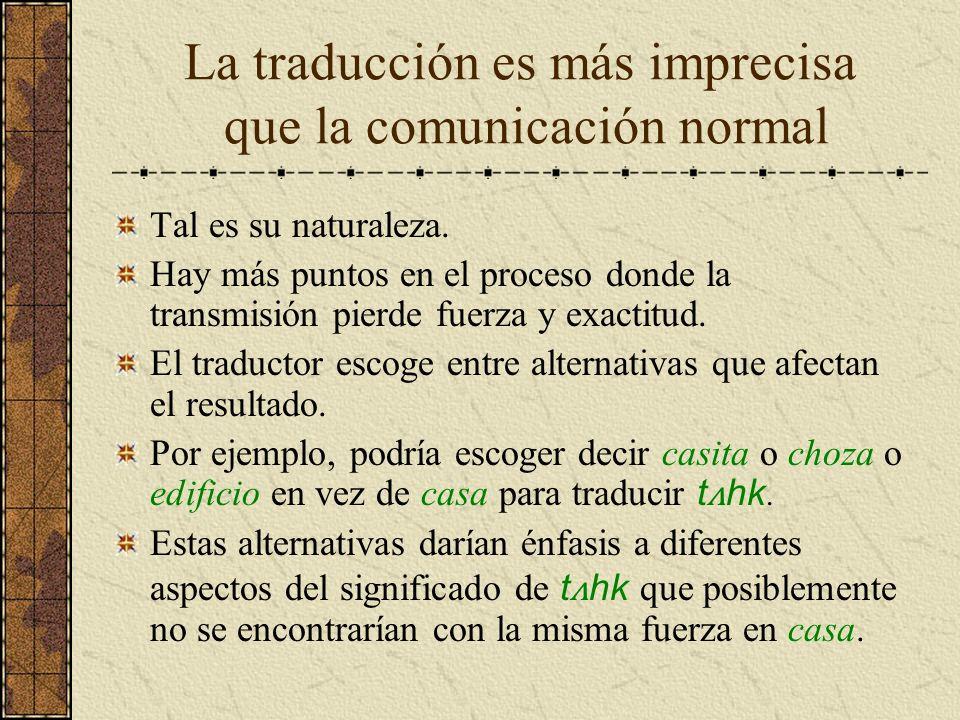 La traducción es más imprecisa que la comunicación normal Tal es su naturaleza. Hay más puntos en el proceso donde la transmisión pierde fuerza y exac