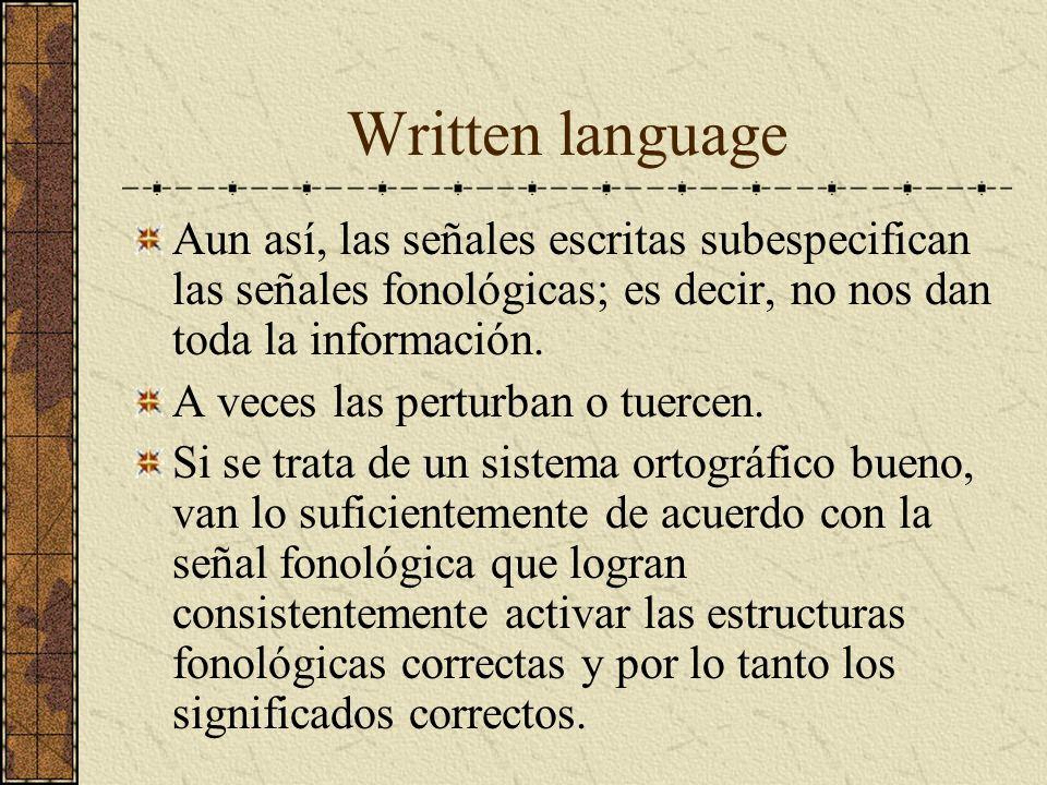 Written language Aun así, las señales escritas subespecifican las señales fonológicas; es decir, no nos dan toda la información. A veces las perturban