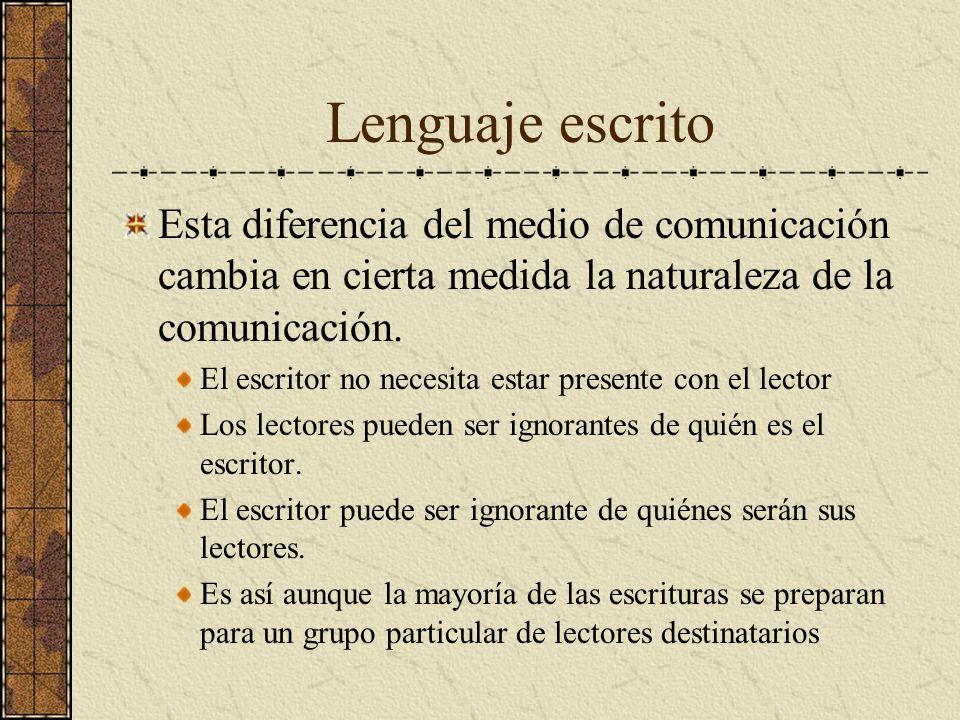 Lenguaje escrito Esta diferencia del medio de comunicación cambia en cierta medida la naturaleza de la comunicación. El escritor no necesita estar pre