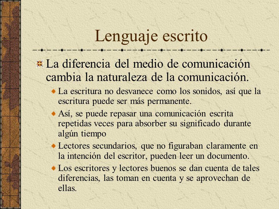 Lenguaje escrito La diferencia del medio de comunicación cambia la naturaleza de la comunicación. La escritura no desvanece como los sonidos, así que