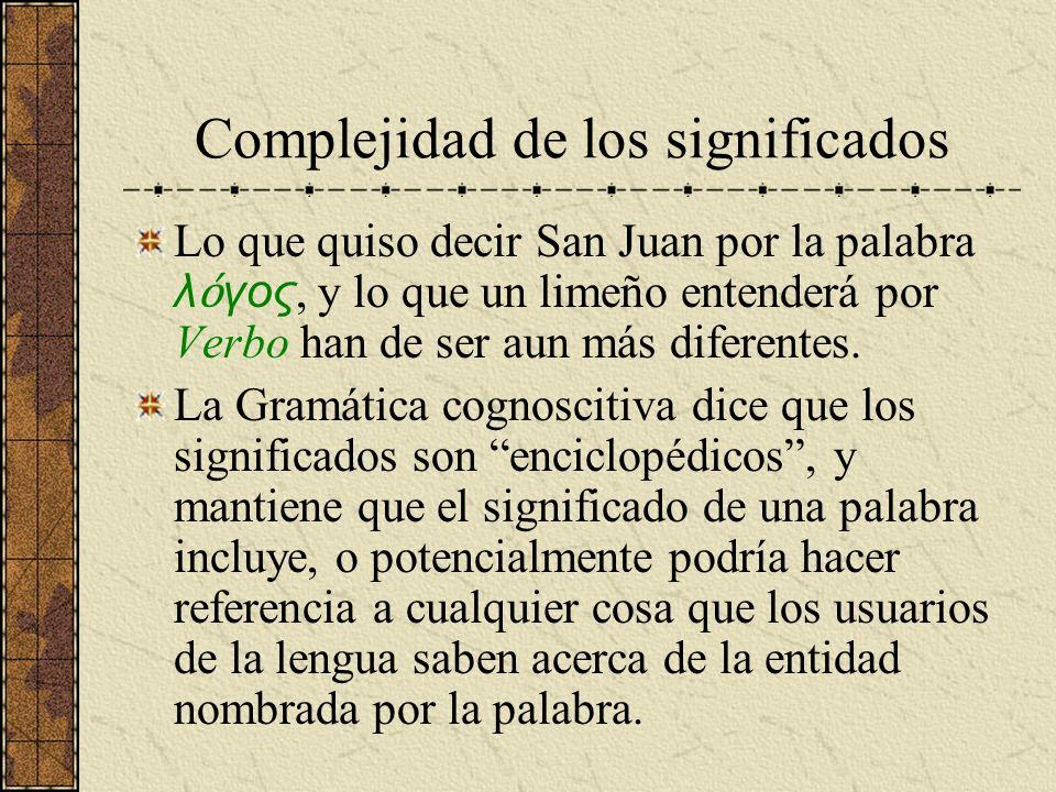 Complejidad de los significados Lo que quiso decir San Juan por la palabra λ γος, y lo que un limeño entenderá por Verbo han de ser aun más diferentes