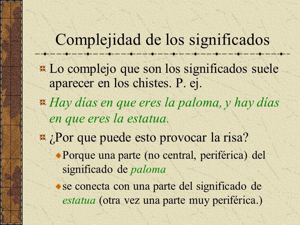 Complejidad de los significados Lo complejo que son los significados suele aparecer en los chistes. P. ej. Hay días en que eres la paloma, y hay días