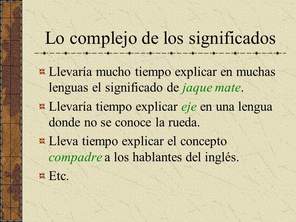 Lo complejo de los significados Llevaría mucho tiempo explicar en muchas lenguas el significado de jaque mate. Llevaría tiempo explicar eje en una len